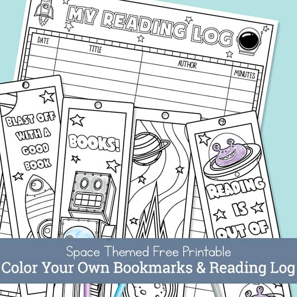 Free Printable Color Your Own Space Bookmarks and Reading Log for Kids